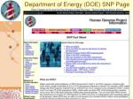 department of energy doe snp page http www ornl gov sci techresources human genome faq snps shtml