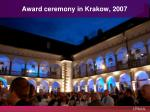award ceremony in krakow 2007