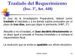 traslado del requerimiento inc 1 art 448
