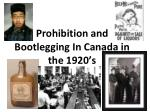 prohibition and bootlegging in canada in the 1920 s