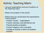 activity teaching matrix