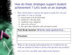 how do these strategies support student achievement let s work on an example