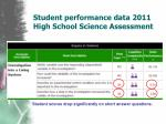 student performance data 2011 high school science assessment