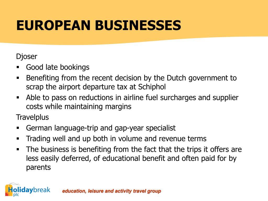 EUROPEAN BUSINESSES