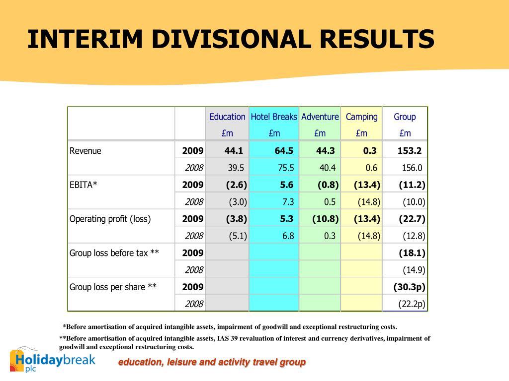 INTERIM DIVISIONAL RESULTS