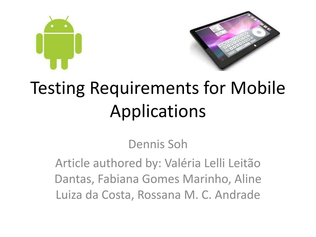 testing requirements for mobile applications l.