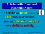 articles with count and noncount nouns
