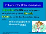 following the order of adjectives