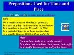 prepositions used for time and place