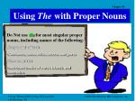 using the with proper nouns