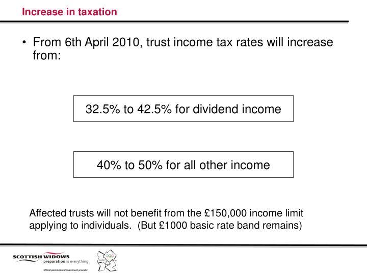 Increase in taxation