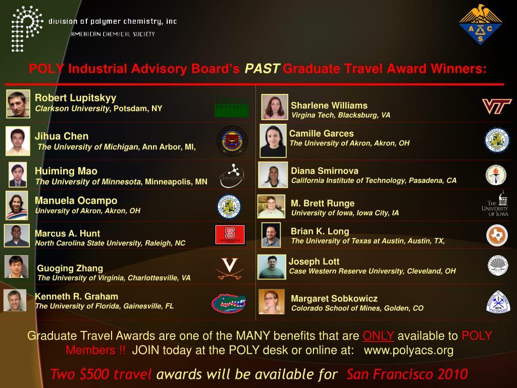 poly industrial advisory board s past graduate travel award winners l.