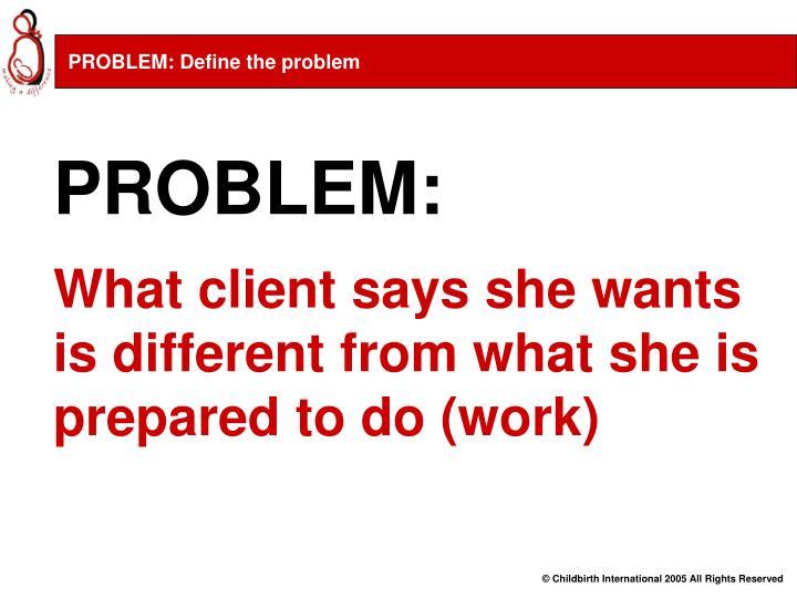 PROBLEM: Define the problem