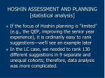 hoshin assessment and planning statistical analysis