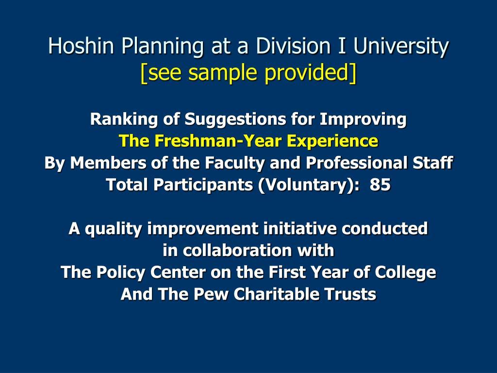 Hoshin Planning at a Division I University