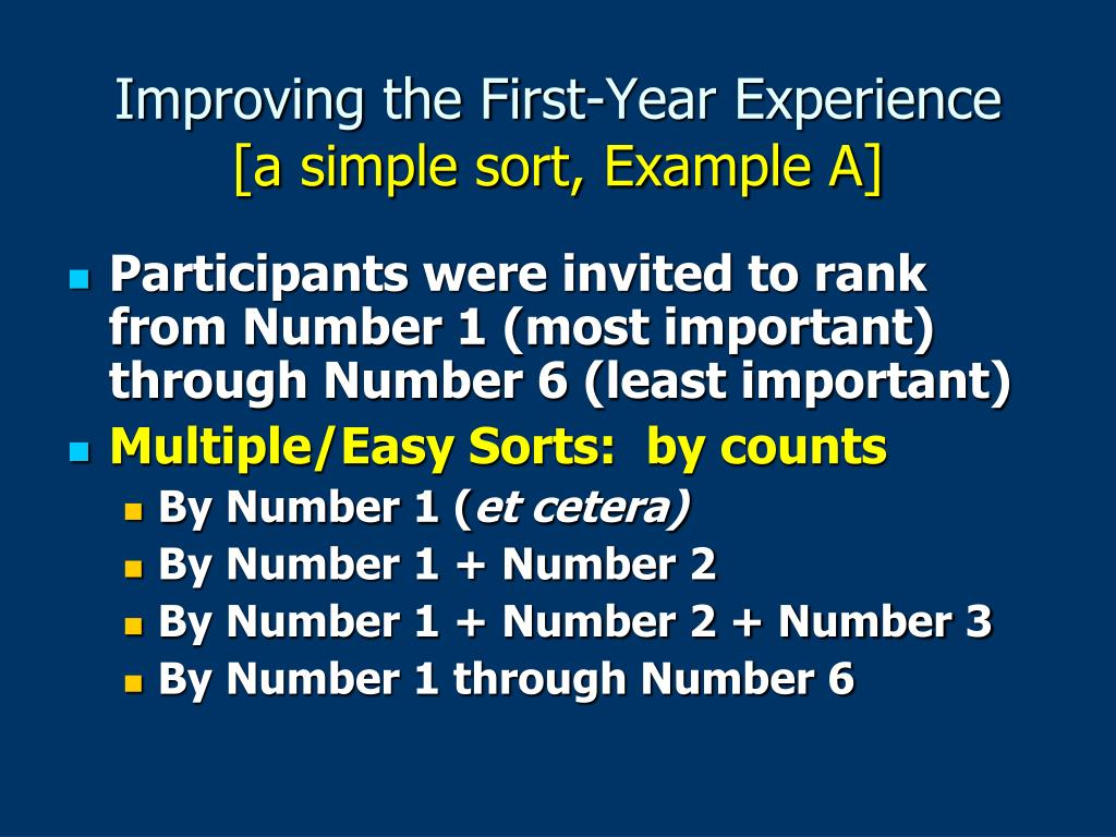 Improving the First-Year Experience