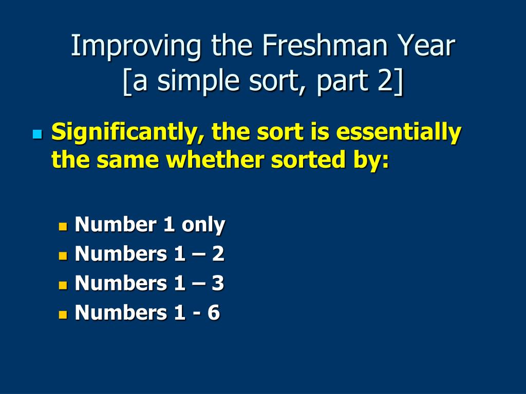 Improving the Freshman Year