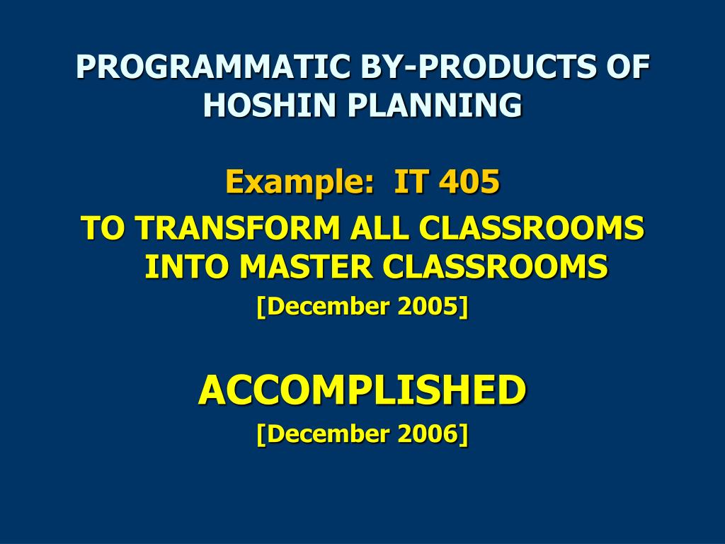 PROGRAMMATIC BY-PRODUCTS OF HOSHIN PLANNING