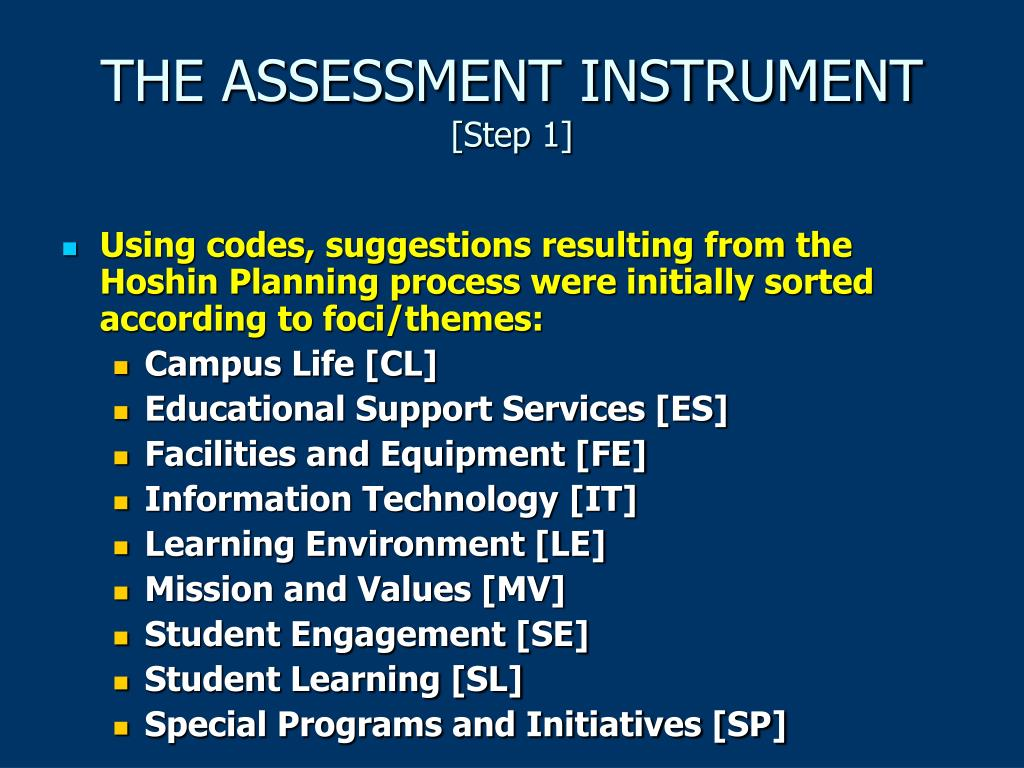 THE ASSESSMENT INSTRUMENT