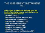 the assessment instrument step 1
