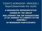 today s workshop process c report disseminate the results
