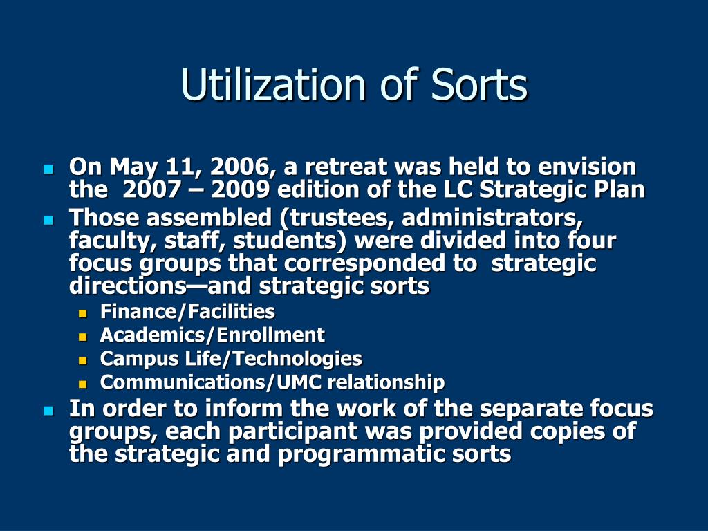 Utilization of Sorts