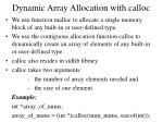 dynamic array allocation with calloc