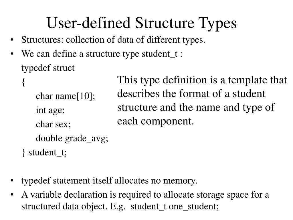 user defined structure types l.