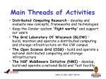 main threads of activities