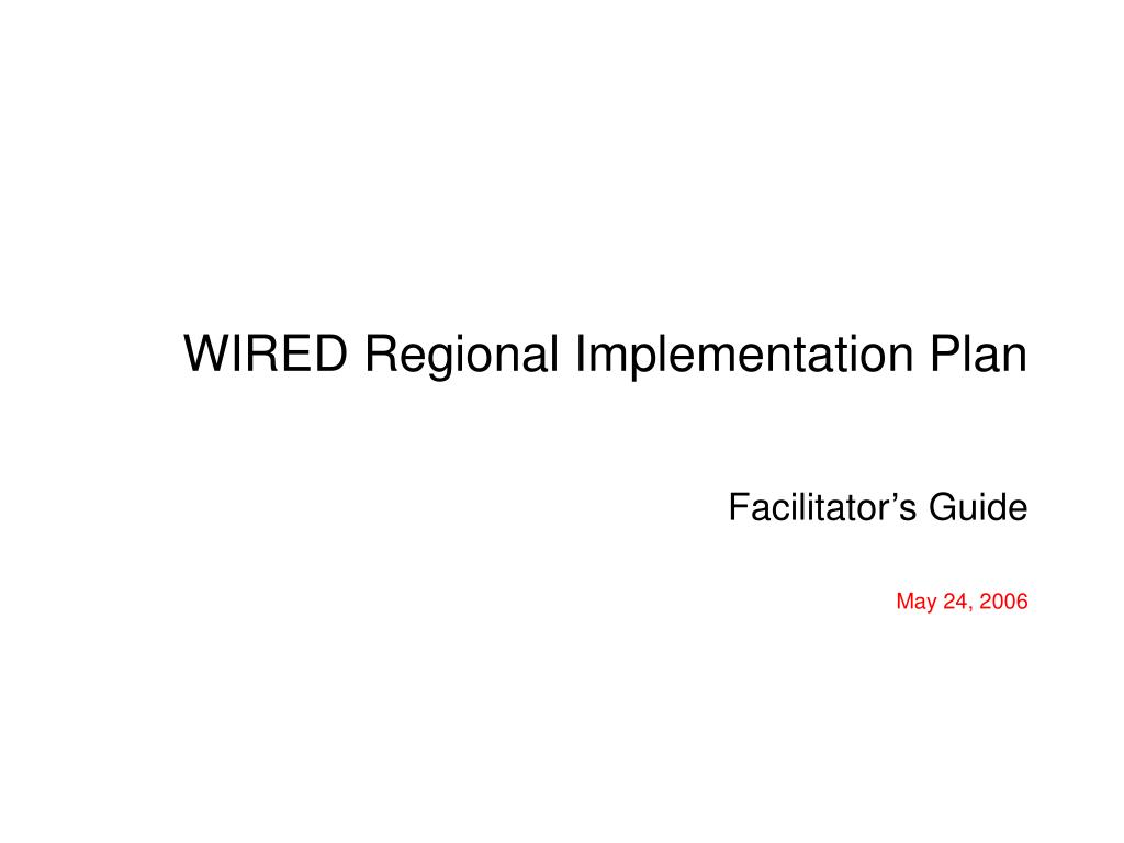 wired regional implementation plan l.