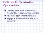 public health coordination opportunities