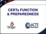 certs function preparedness