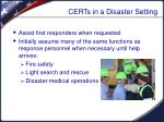 certs in a disaster setting