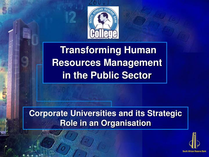 transforming human resources management in the public sector n.