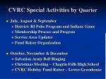 cvrc special activities by quarter