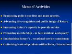 menu of activities