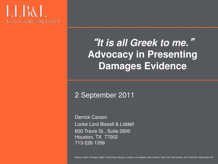 it is all greek to me advocacy in presenting damages evidence n.