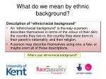 what do we mean by ethnic background