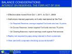 balance considerations interest on reserves the fsrr act of 2006