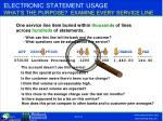 electronic statement usage what s the purpose examine every service line