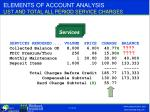 elements of account analysis list and total all period service charges
