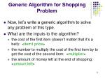 generic algorithm for shopping problem