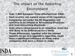 the impact on the reporting environment