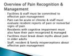 overview of pain recognition management
