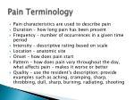 pain terminology