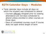 r2t4 calendar days modules