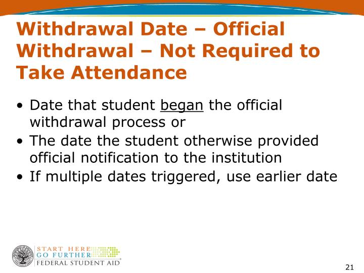 Withdrawal Date – Official Withdrawal – Not Required to Take Attendance