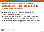 withdrawal date official withdrawal not required to take attendance
