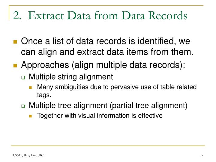 2.  Extract Data from Data Records
