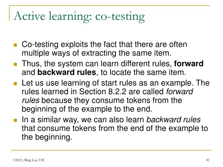 Active learning: co-testing